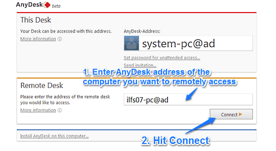 anydesk connect