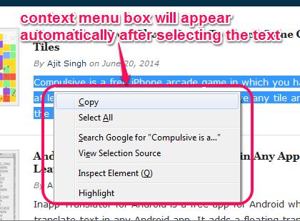 auto open context menu for selected text