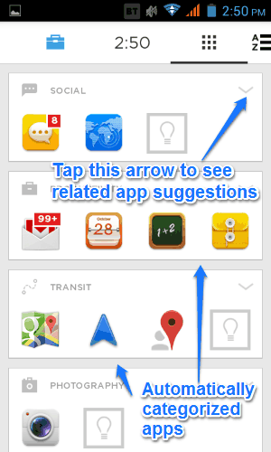 categorized app listing