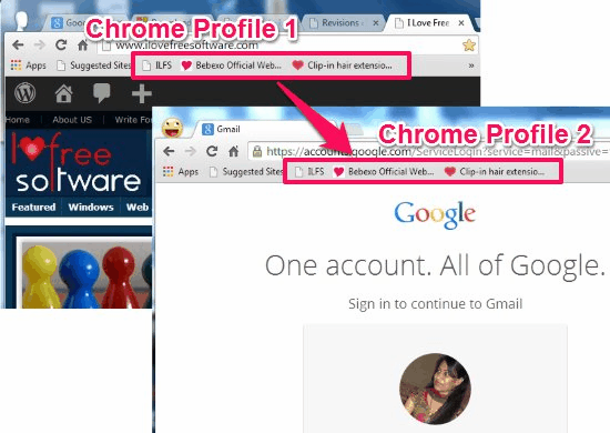 chrome profile bookmarks