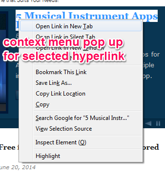 context menu for selected hyperlink