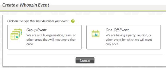 create a Whoozin event