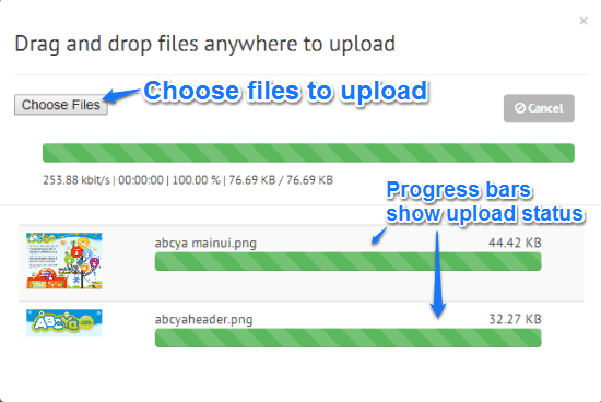 drag and drop upload progress bars zimilate