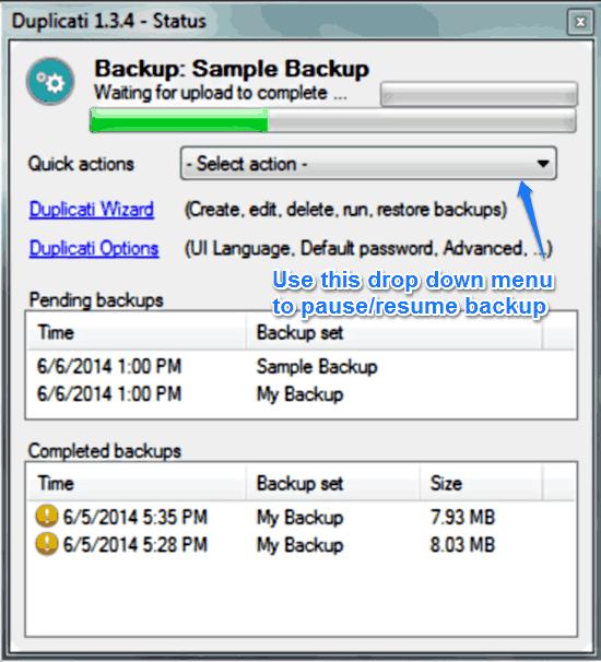 duplicati backing up prompt