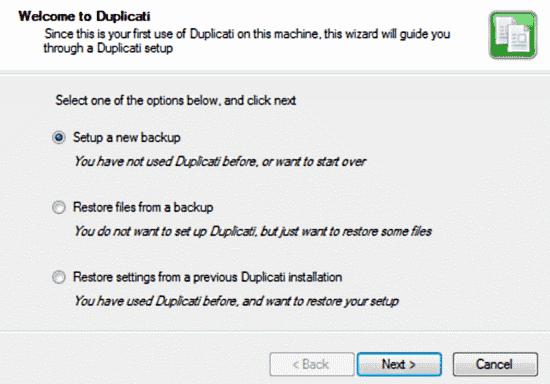 duplicati first screen