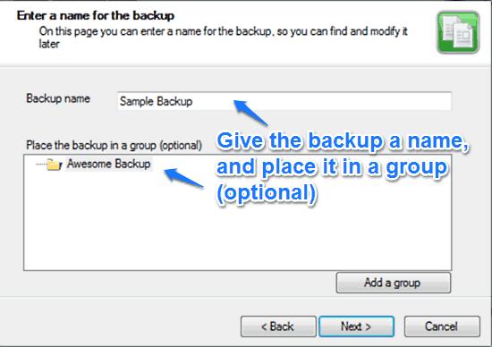 duplicati name backup