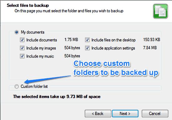 duplicati select folders