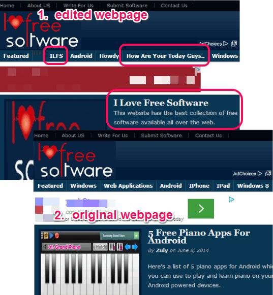edited and original webpage