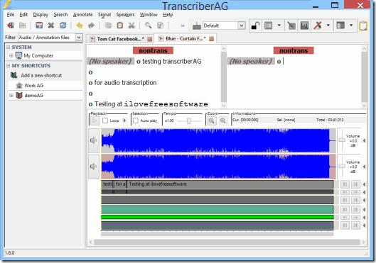 free transcription software - transcriberAG