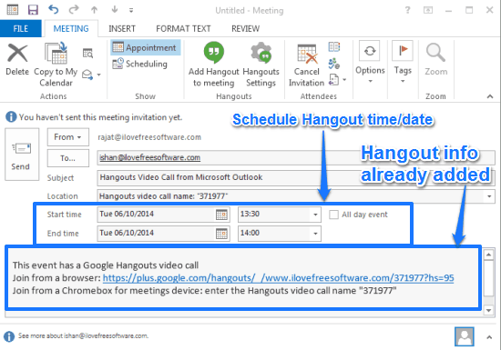 Google Hangouts Plugin for Outlook: Schedule Hangouts from Outlook