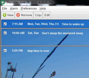 interface of this free alarm clock