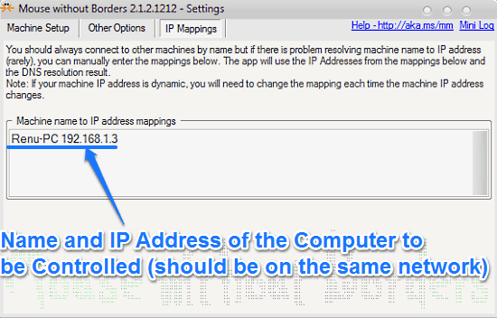 ip mappings mouse without borders