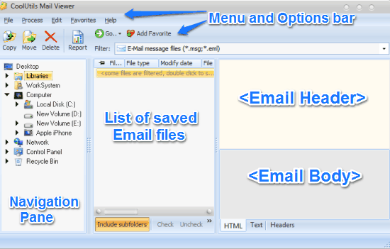 mail viewer main ui