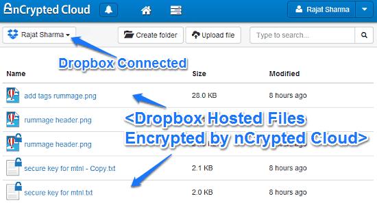 ncrypted cloud main ui