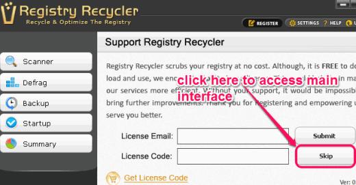 Registry Recycler support window
