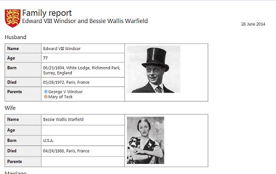 sample family report