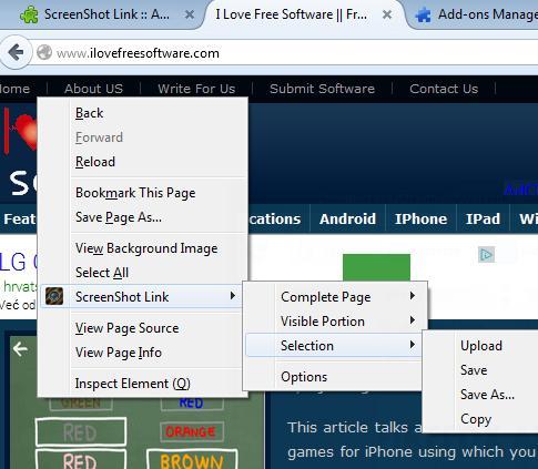 screenshot addons firefox 3