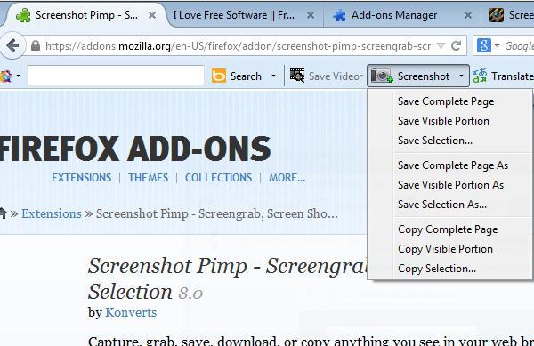screenshot addons firefox 4