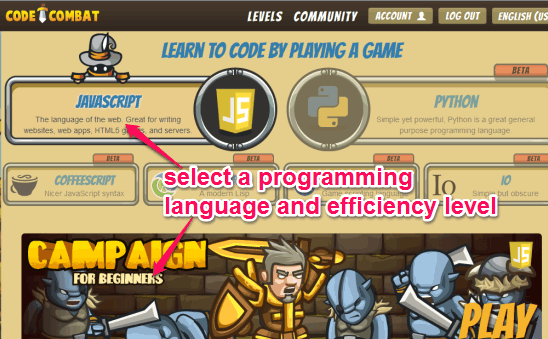 select a programming language to learn coding