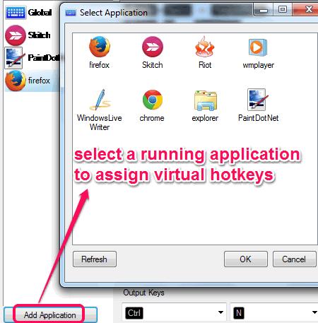 select an application