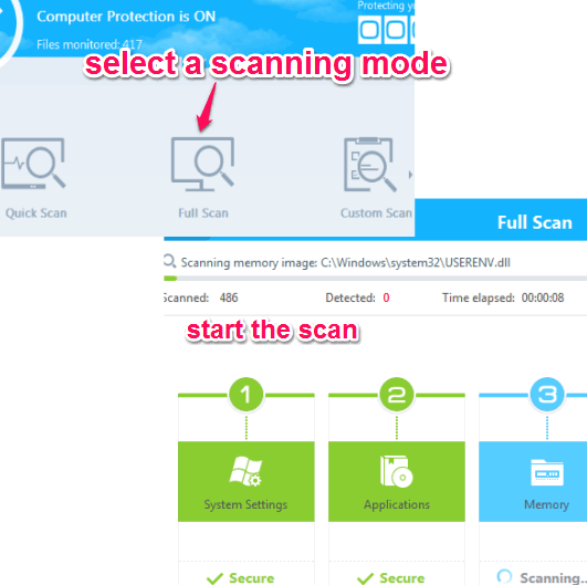 select scanning mode and start scan