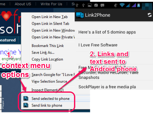 send URL and text from Firefox to Android