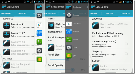 sidecontrol app setting