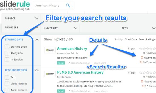 sliderule search result