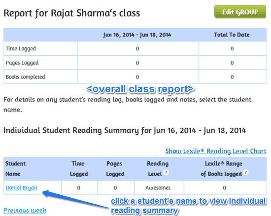student reading report