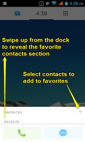 swipe up to add contacts to favs