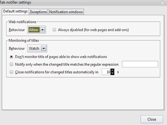 tab notifier settings