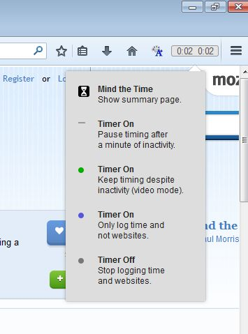 time tracking addons firefox