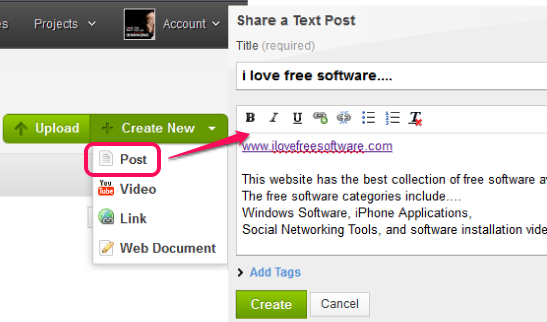 upload files and create new post