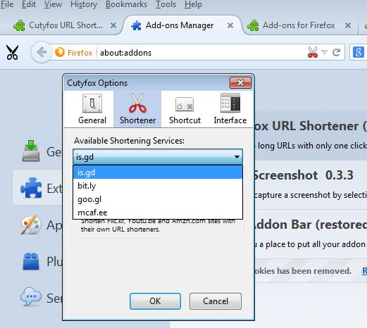 url shortener addons for firefox 1