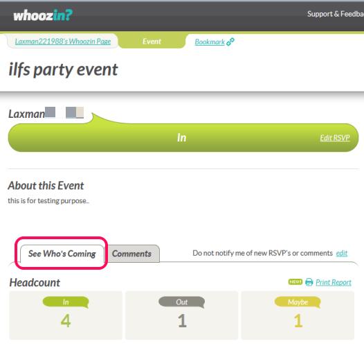 Whoozin- free online RSVP service