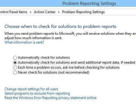 Action Center-Problem Reporting
