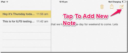 Adding New Note