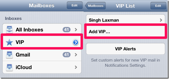 Adding VIPs in iPhone Mail App