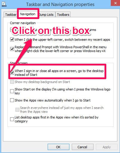 Boot To Desktop-Taskbar Properties