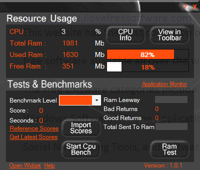 CPU usage monitor - Webtile PC ++