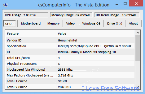 CPU usage monitor - csComputerInfo Tool