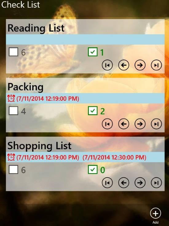 Free Windows 8 Checklist App With Reminder: Check List