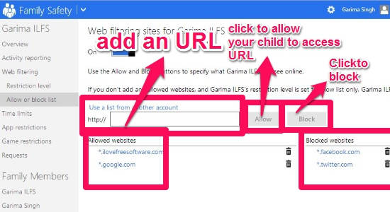Child Account-Web filter