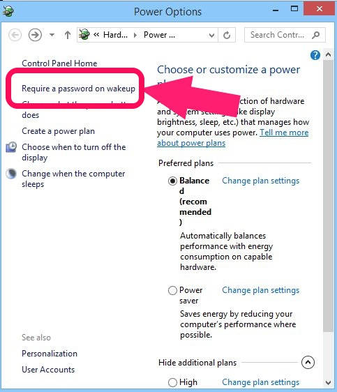 Disable Password Protection-Power Options