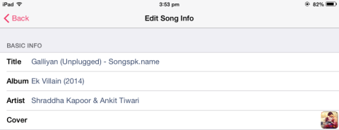 Editing Song Info
