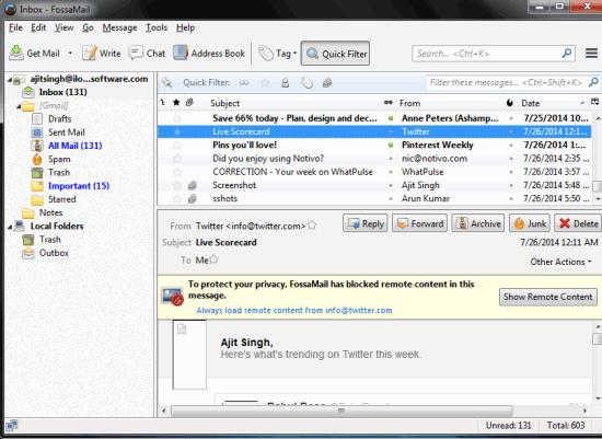 FossaMail Inbox