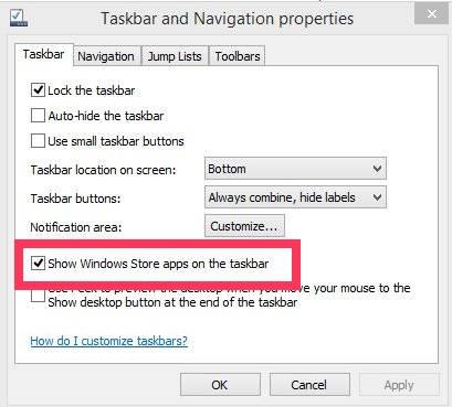 Hide Modern Apps On Taskbar-Uncheck