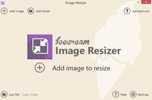 IceCream Image Resizer- interface