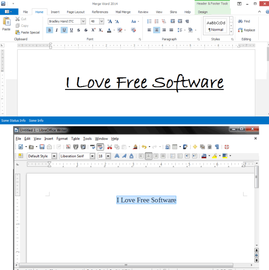 Merge Word 2014 vs LibreOffice Writer