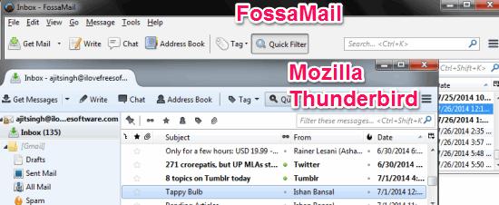 Mozilla Thunderbird vs FossaMail